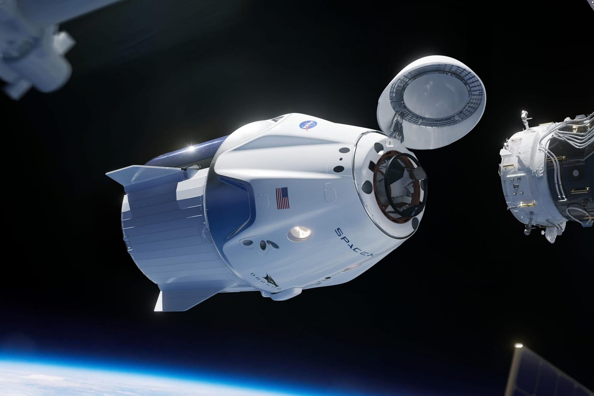 la crew dragon in orbita