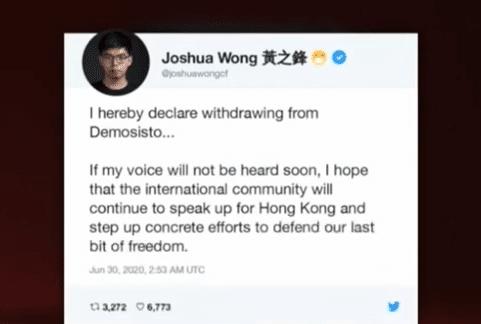 Joshua Wong Demosisto protesta Twitter