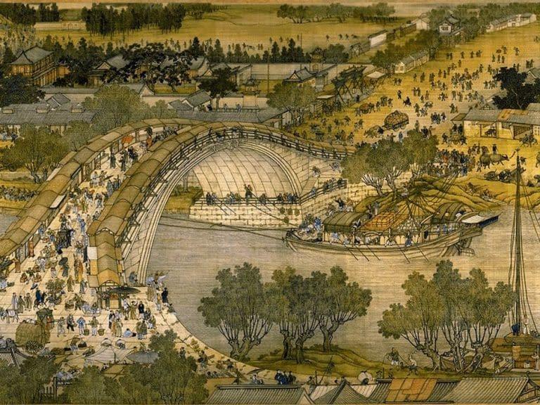 Dettaglio del dipinto su rotolo «durante il Festival di Qingming»