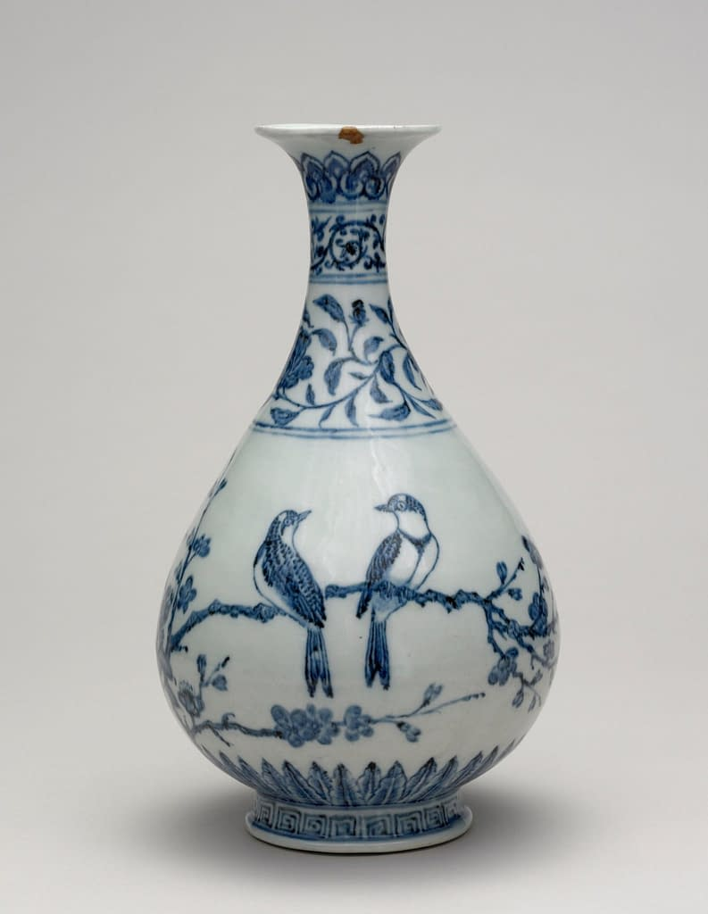 vasi di porcellana bianca e blu dinastia  Ming